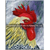 Original Hand Painted Red Comb Oil Paintings on Canvas Wall Cock Head Oil Painting Handmade Year of the Rooster Mascot Artwork