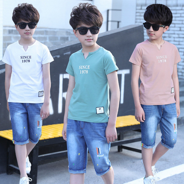 2019 Summer T Shirt + Shorts Boy Suits Kid Clothes Teenager Baby Set Children Clothing Sets Jeans Boys Clothes Toddler Tracksuit