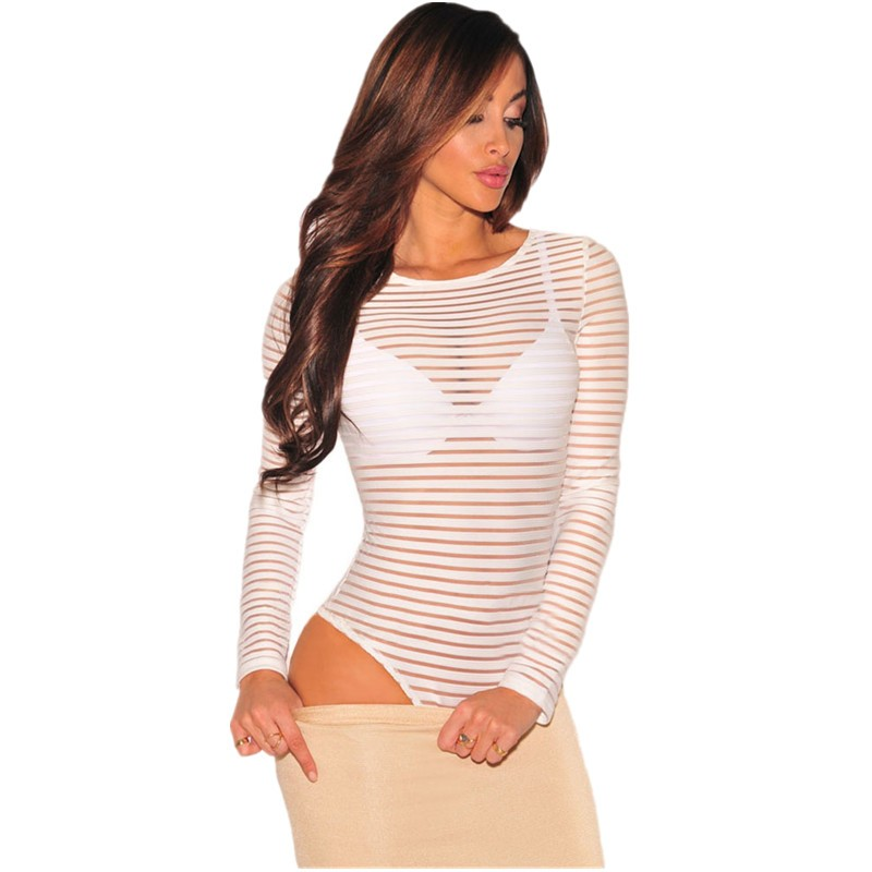 White-Sheer-Striped-Bodysuit-LC32044-1