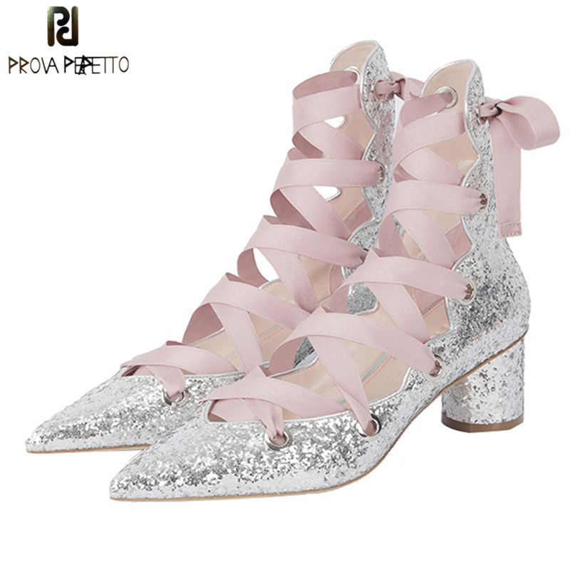 Prova Perfetto Bling Bling Front Lace Up Hollow High Toe Women Pumps Shoes Laces Silk Chunky Heel Pointed Toe Ladies Ballet Shoe