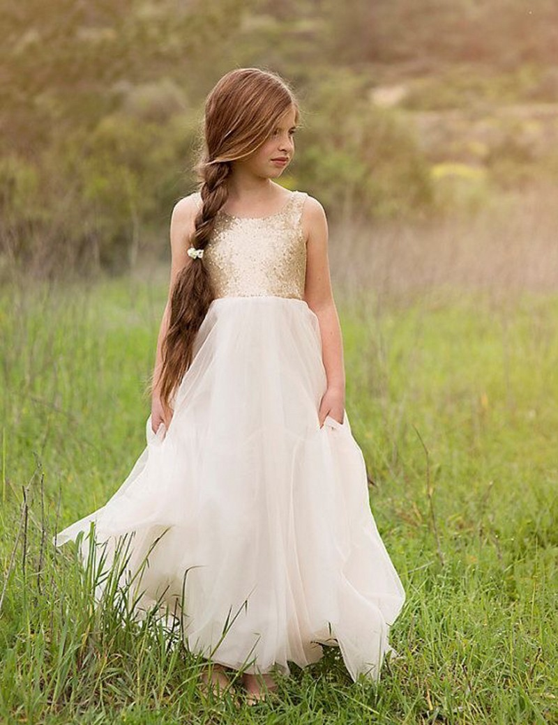 Hot Selling Cute Lovely Lace   Girls     Dresses   Scoop A-Line Floor Length Sequins   Flower     Girls     Dresses   Little   Girl   Party Gowns