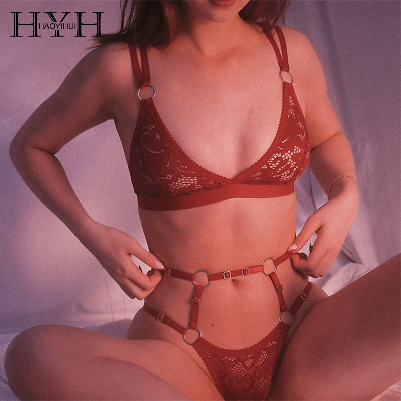 HYH Haoyihui 2019 New Fashion Sexy Transparent Lace Ladies   Bra   And Panties Women Underwear Solid   Brief   For Women   Bra   Suit