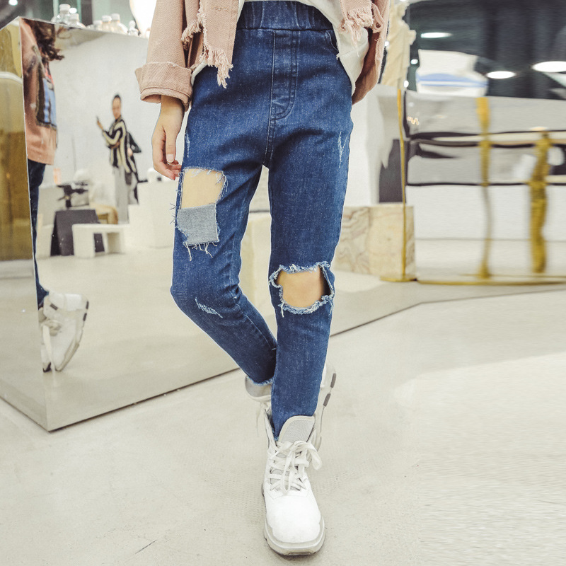5 6 7 8 9 10 11 12 13 Year Casual Pant Spring Ripped Jeans For Girls Teenagers Baby Girl Denim Pants Kids Teens Pencil Trousers plus size ripped pencil jeans