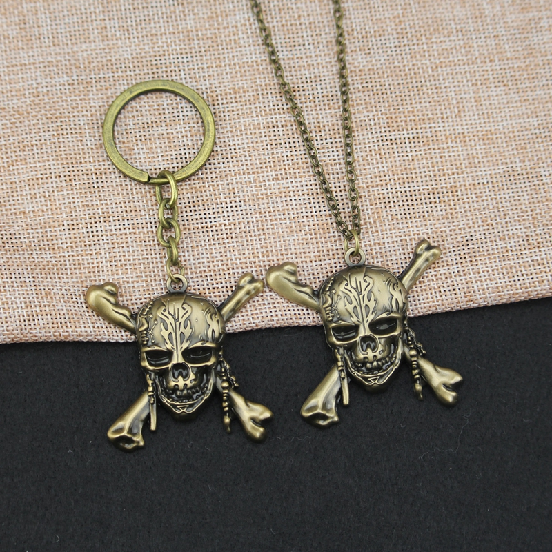 Pirates of the Caribbean Movie Skeleton Keychain Captain Jack Sparrow Mask Skull Crossbones Alloy Key Chain Ring Dropping S