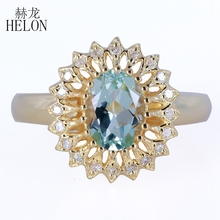 HELON Solid 14K Yellow Gold Natural Diamonds Ring Engagement Wedding Cocktail Ring Oval 8x6mm Aquamarine Gemstone Jewelry Ring