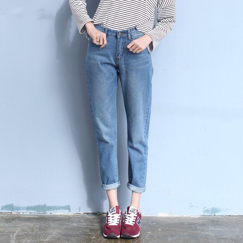 ФОТО 2017 New Fashion Spring Summer Women blue Bf Denim Hole Jeans Retro Street Loose Harem Nine Pants Trousers Plus Size 157