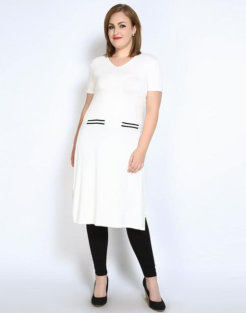 Mulheres Outono T-shirt 2017 Verão Alta Dividir Longo Tops Mais tamanho 5xl 6xl clothing sexy com decote em v tamanho grande tops camisas Femininas
