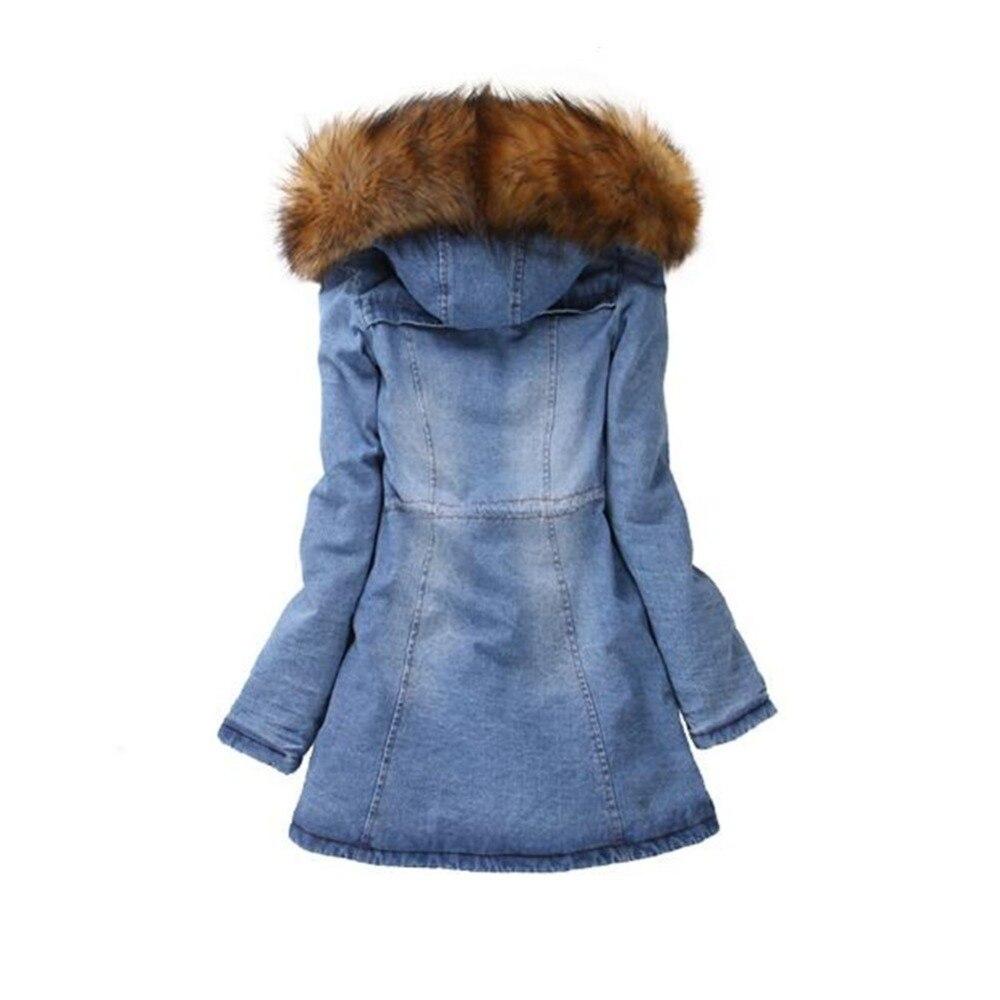Solide Avec De Chaud Capuche Manteau New Hiver Denim Femmes Bleu Épaissir Jean Outwear Veste Jeans Col Lisa Colly Pardessus Fourrure Large n78wxzwv