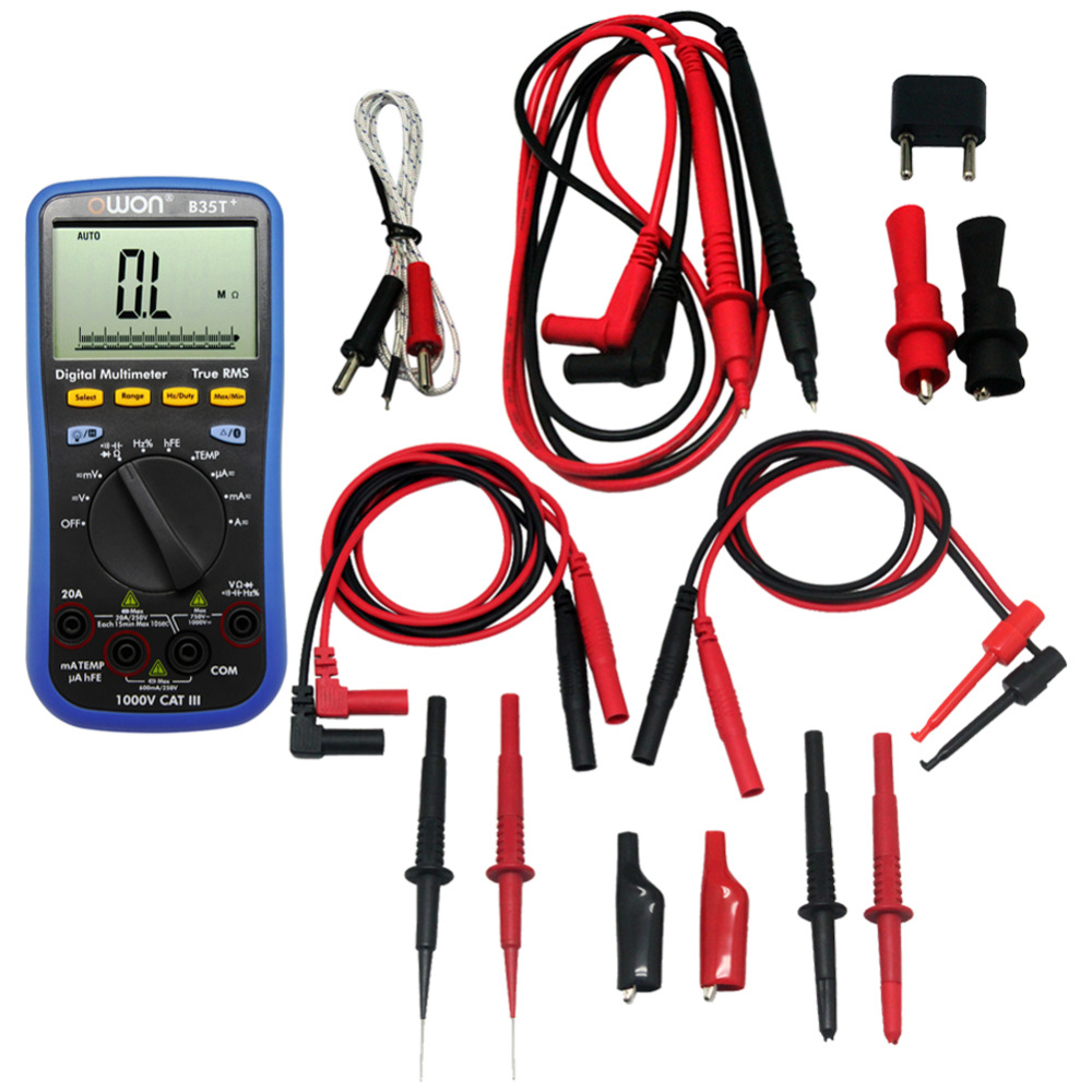 OWON B35T+ Multimeter with True RMS Measurement TL809 FLUKE Test Leads TLP20157,B35TTLP20157 aidetek needle tipped tip leadmodular heavy duty test probe handles tl809 leads set for multimeter leads 2tlp20162
