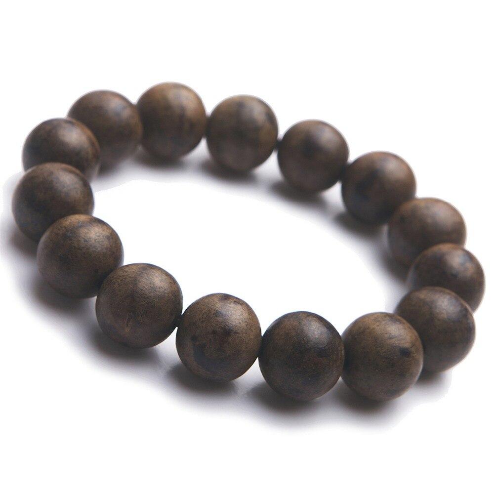 Vietnam véritable naturel Agilawood Aloeswood perles rondes Bracelets extensible bois élastique Bracelet pour femmes hommes amulette 16mm