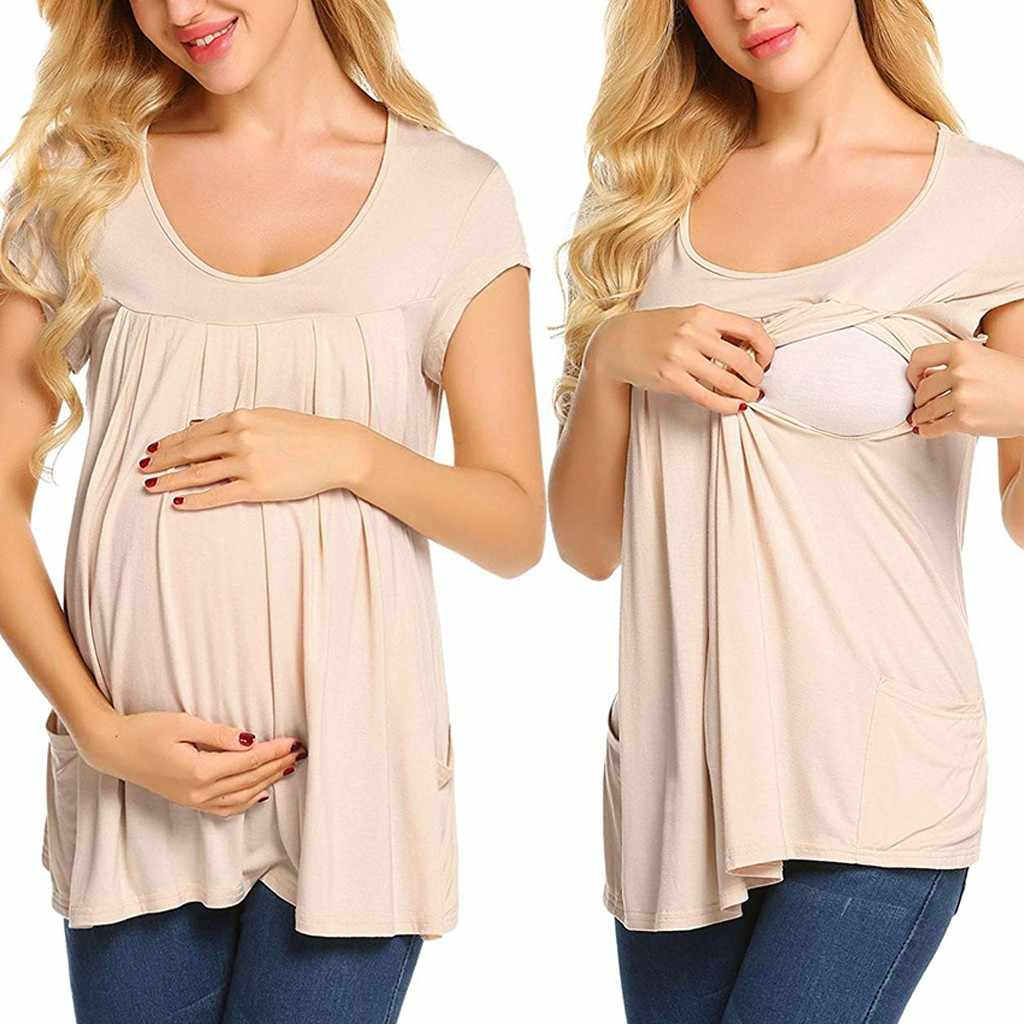 Women's Maternity Cloth Short Sleeve Comfy Layered Breastfeeding Pregnant T-shirt Nursing Top ropa mujer Maternity Clothing C613