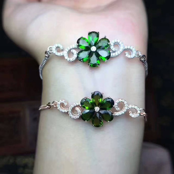 Natural green diopside gem Bracelet Natural gemstone Bracelet 925 silver bracelet Fashion delicate flowers Female fine jewelry фото