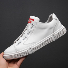 Black White Male Genuine Leather Shoes  Breathable Casual Sneakers Lace Up Men Flats Brand Design Outdoor Walking Travel