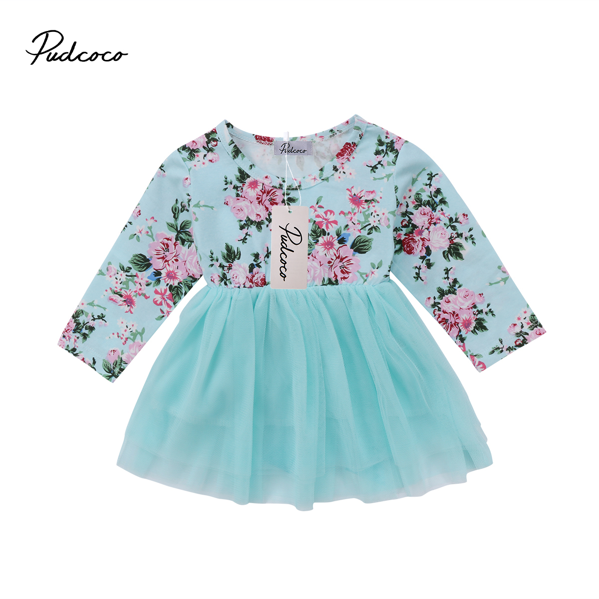 Pudcoco Newborn Kid Baby Girls Clothes Cotton Long Sleeve O-Neck Floral Tulle Dress 0-18 Months Helen115