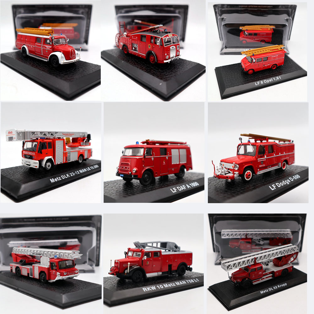 Fire Engine Atlas Stobart Maxim Dodge Opel MB Iveco Magirus Metz Krupp DAF Pump Emergency Vehicle Diecast Models Toys Car