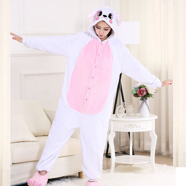 Funny Bunny Kigurumi Animal Onesie Flannel Adult Pajamas Rabbit Onesies For Women  Cosplay Sleepwear Stage Special Costume f77a82171