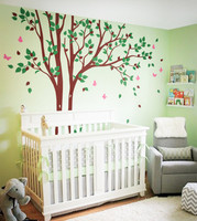 Large Wall decal Tree Branch with leaves Butterflies Decal Sticker Kids Nursery Room Wall Sticker Bedroom Art Decoration NY 191