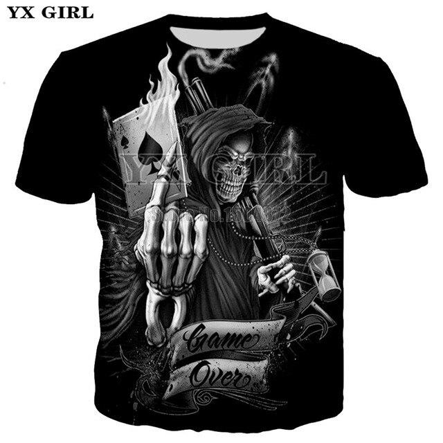 d318026f1103 2018 New T-shirts Skull Poker Grim Reaper T shirt Men Women 3D Print Tshirt  Funny Streetwear Tops Plus Size 5XL Drop Shipping