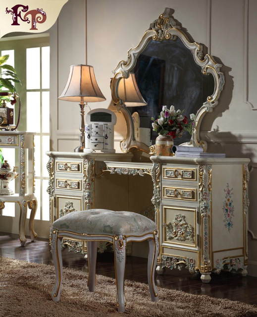French Provincial Make Up Table Dresser Vanity Set Swivel Oval Mirror With Stool Wood