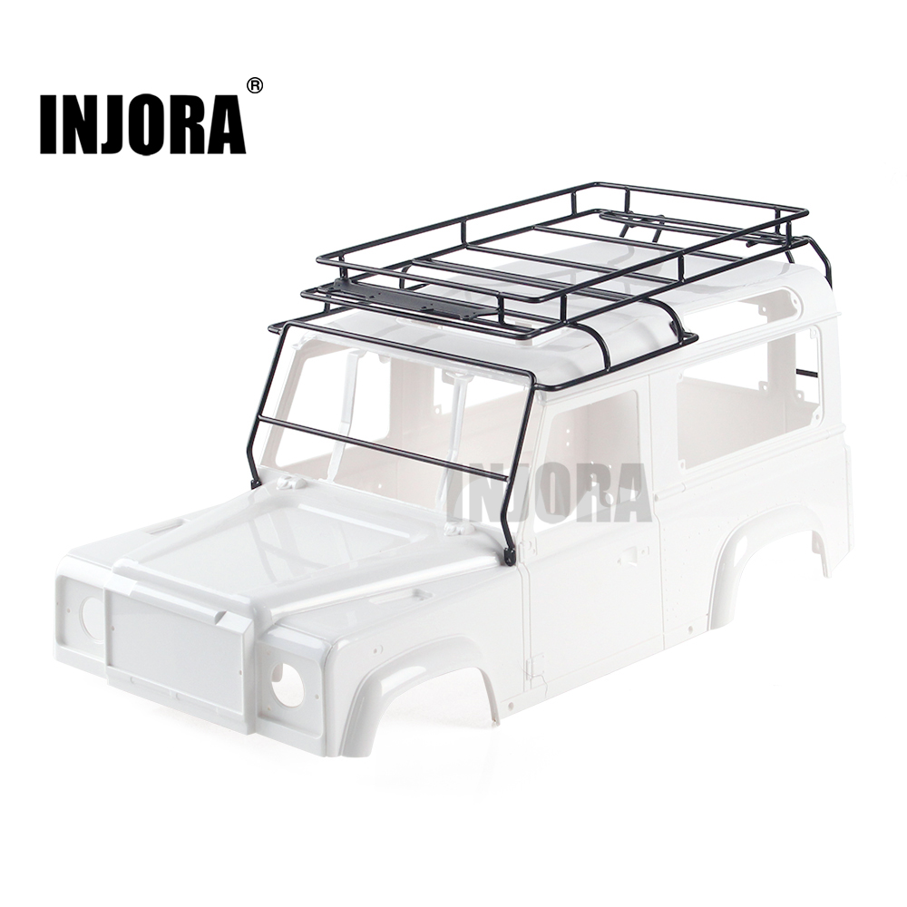 INJORA Metal Roof Rack Luggage Carrier for 1/10 RC Crawler RC4WD D90 Land Rover Body She ...