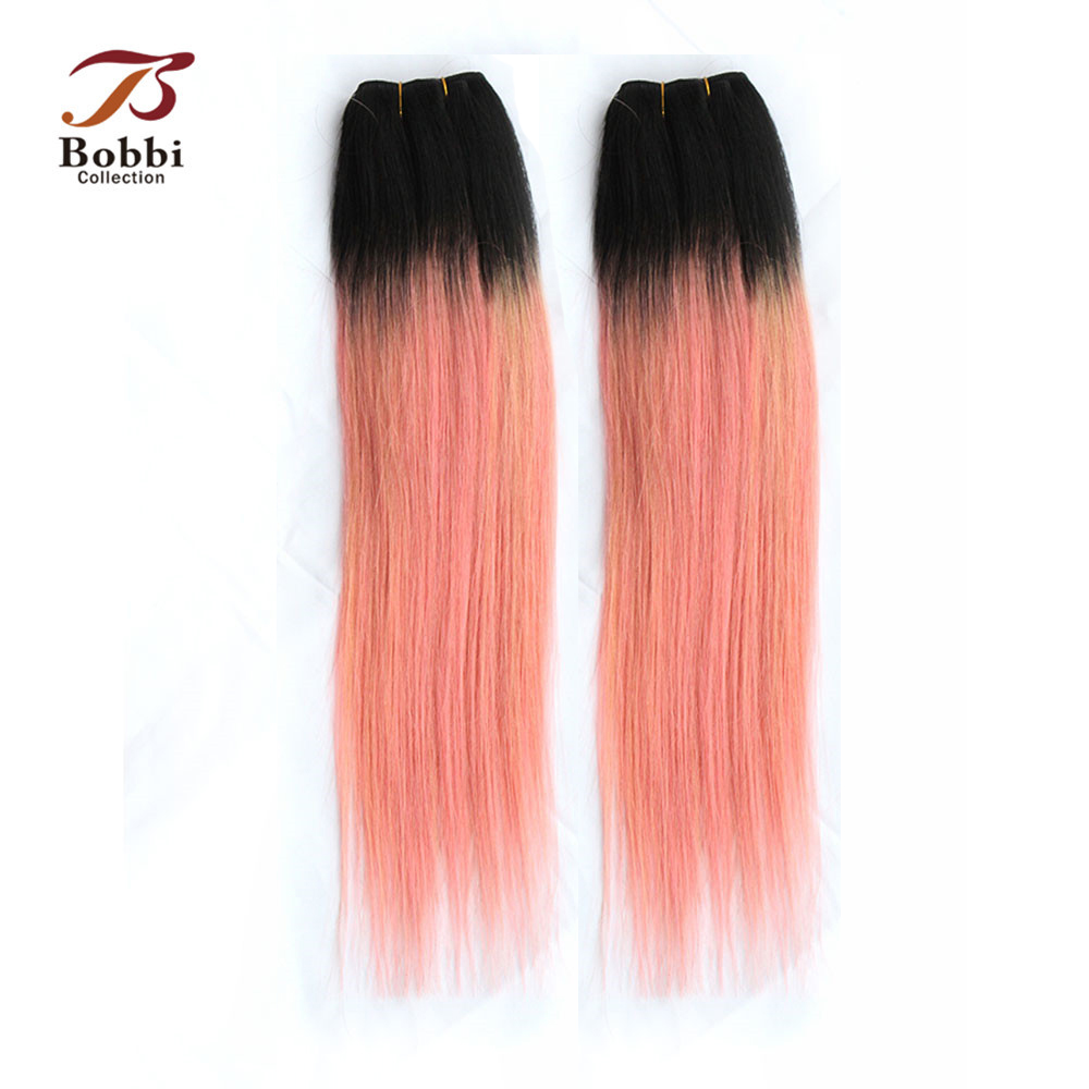 Galleria fotografica 2/3 Bundles Ombre Brazilian Hair Weave Bundles Two Tone <font><b>T</b></font> 1B Pink Rose <font><b>Gold</b></font> Straight Remy Human Hair Extension Bobbi Collection