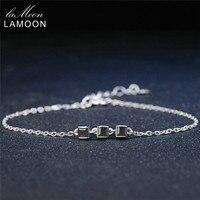 Lamoon سوار 925 فضة أساور 100% ساحة الأسود الطبيعي العقيق سحر الذهب الأبيض مطلي غرامة مجوهرات HI016