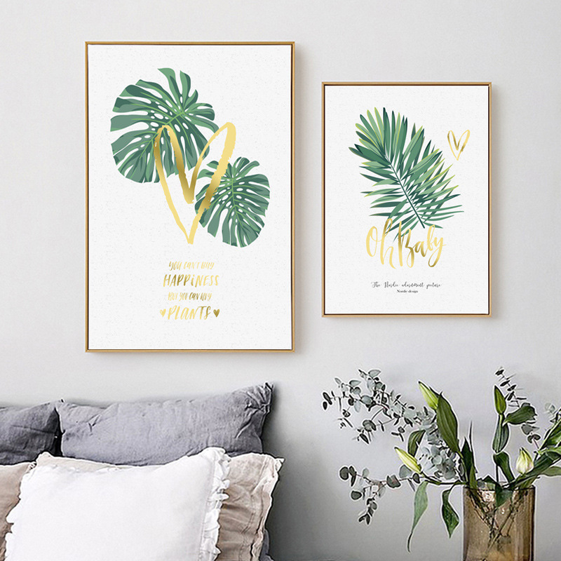 HAOCHU Abstract Watercolor Tropical Fresh Leaves Gold Heart Love Letter Canvas Painting Wall Picture For Home Bedroom Decor
