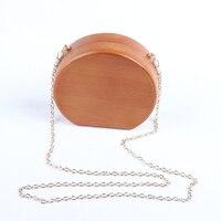 New Brand Fashion Clutch Bag Wallet Round Wooden Messenger Bags Bolsa Feminina Hasp Bag Chain Shoulder Evening Bags For Women