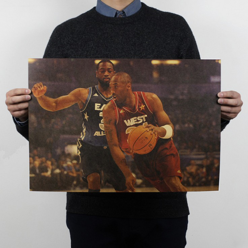Free shipping,Kobe B style/basketball star/ kraft paper / Cafe / bar poster/ Retro Poster/decorative painting 51x35.5cm