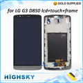 1 piece free shipping replacement screen for LG G3 D850 D851 D855 lcd display + touch digitizer complete with frame