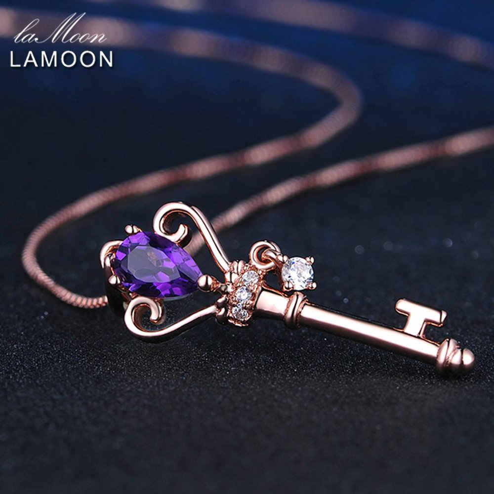 LAMOON korona klucz wisiorek 925 Sterling srebrny naszyjnik biżuteria 0.4ct ametyst kamieni szlachetnych naszyjniki różowe łańcuszek pozłacany LMNI004