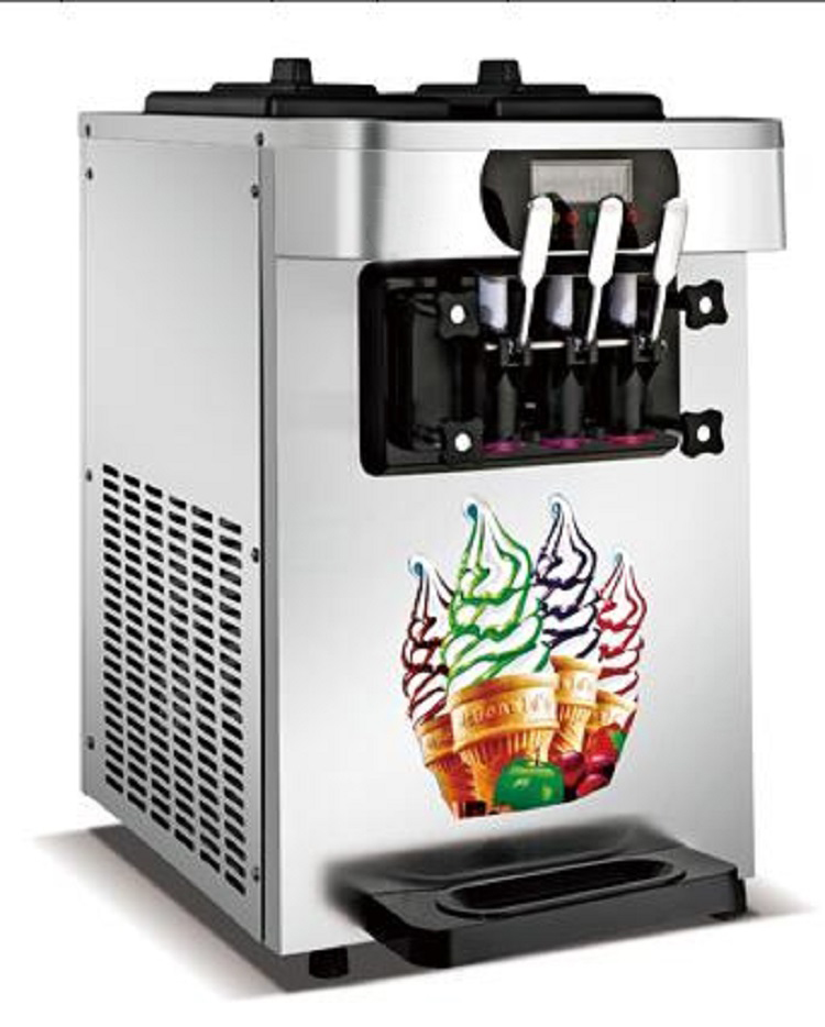 Hot Sale Gelato Table Top Mini Soft Ice Cream Milkshake Vending Machine 3 Flavors Ice Cream Maker 18-22L/H With Free Shipping