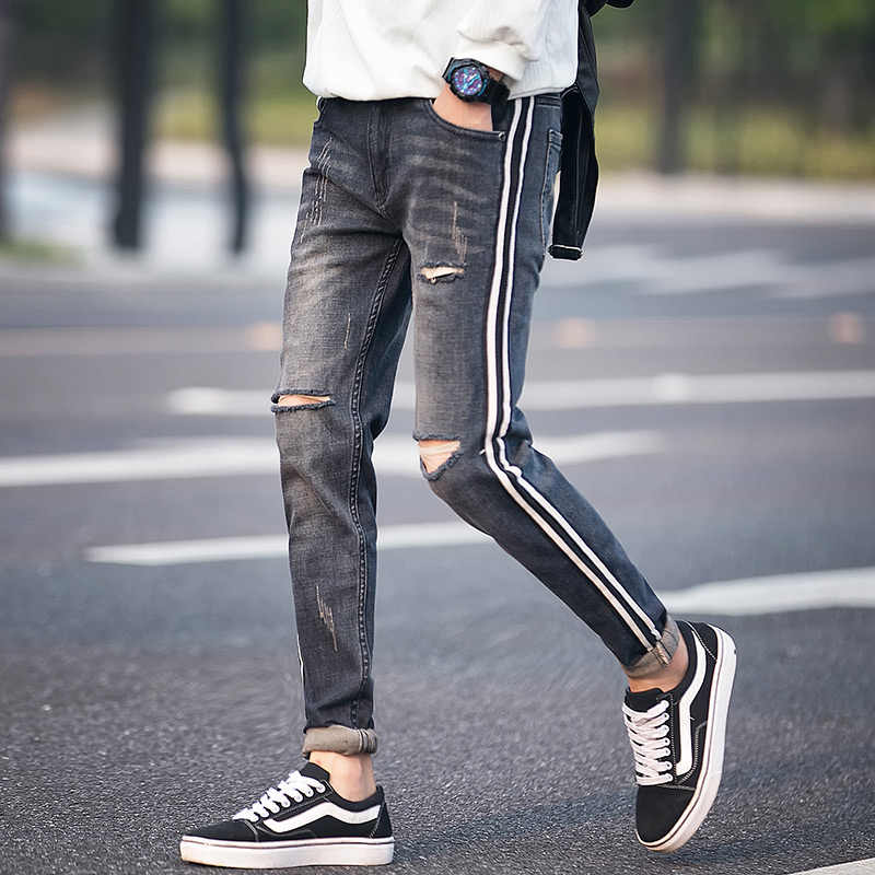9d87d96c828 High Quality Ripped Jeans Men Spring 2018 New Slim Fit Hole Mens Jeans  Casual Side Stripe