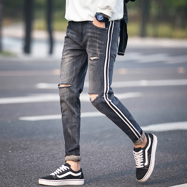 525354db71e High Quality Ripped Jeans Men Spring 2019 New Slim Fit Hole Mens Jeans  Casual Side Stripe Design Denim Pants Men Trousers 28-36