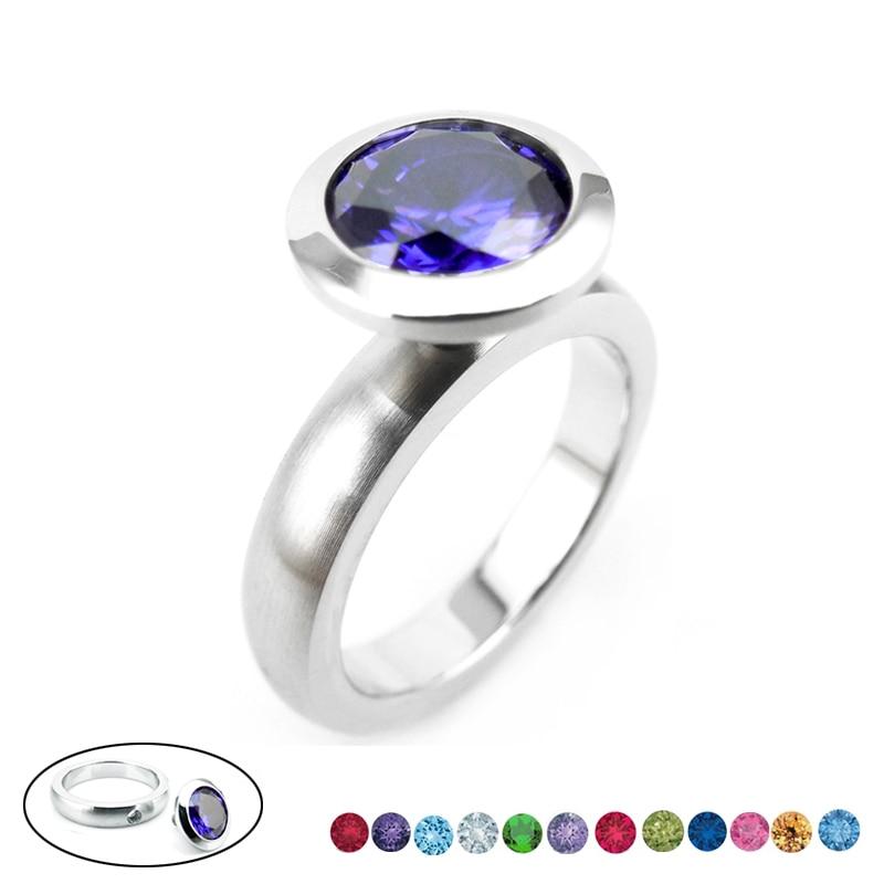 R01-0 stainless steel DIY ring 12 birthstone-1