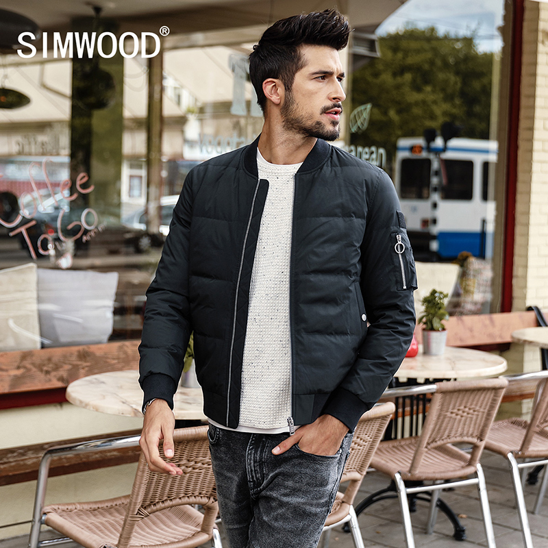 SIMWOOD Winter Jacket Men Slim Fit 90% White Duck Coats Fashion  2019 Autumn Parka Male Slim Fit  Black Bomber Big Size YR017004