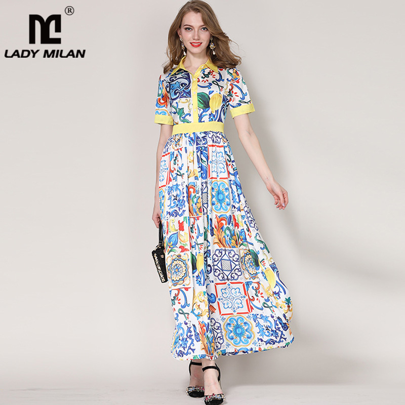 New Arrival 2018 Womens Turn Down Collar Short Sleeves Sash Belt Floral Printed A Line Elegant Long Casual Dresses
