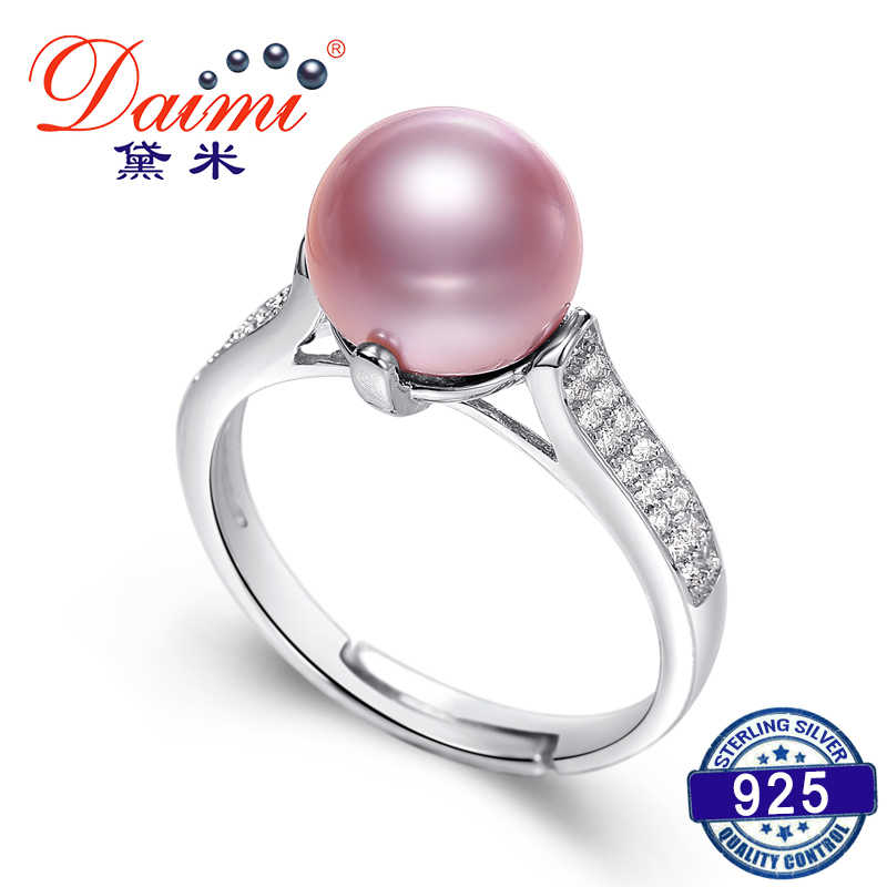 DAIMI Trendy Shiny Ring High Quality 8-9mm Purple Pearl Ring Sterling Jewelry High Quality Pearl Ring Gift For Women