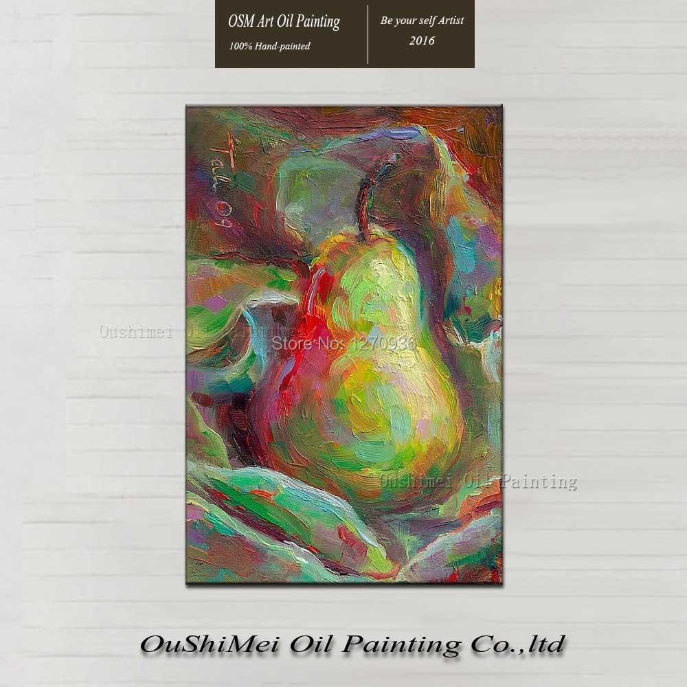 Nature morte peinture à l'huile peinte à la main abstraite peinture à l'huile sur toile décoration Impression Fruit poire pour salle à manger décor