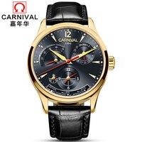 2018 Luxury Brand Carnival Men's Watch Calendar Leather Clock Dress Men Casual Automatic Mechanical Watches Relogio Masculino