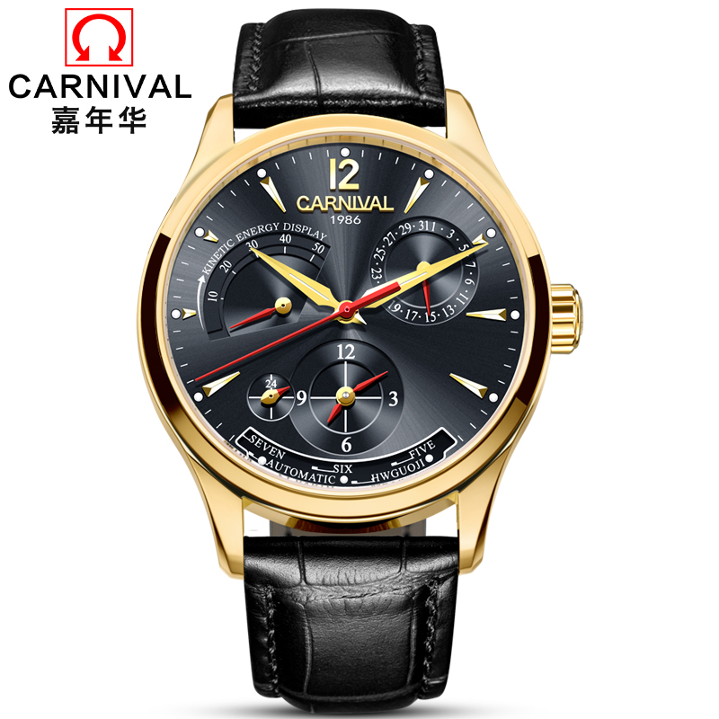 2018 Luxury Brand Carnival Men's Watch Calendar Leather Clock Dress Men Casual Automatic Mechanical Watches Relogio Masculino цена