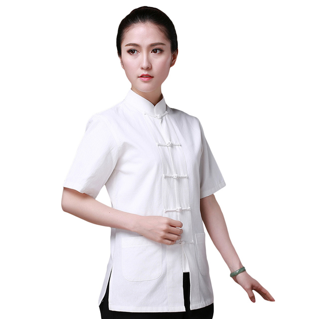 e8589d1d2 7 Colors Kungfu Short-sleeved Shirt Chinese Traditional Cotton Clothing  Tang Suit Top Taiji Wushu Costume for Women