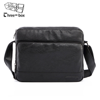 Three Box Men Vintage Canvas Messenger Bag PU Leather Soft Man Travel Bags Retro School Bag