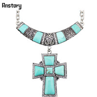 Кристалл Природный камень Цепочки и ожерелья крест кулон Цепочки и ожерелья для Для женщин Античная Посеребренная Модные украшения