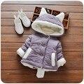 Inverno quente Meninas Do Bebê Lactentes Crianças Double Breasted Bonito Cauda Orelha de Veludo Com Capuz Engrosse Brasão Jacket Outwear Roupas Casaco S4210