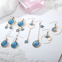 2019 New Korean Style Jewelry Blue Star Moon Long Drop Earrings for Women Asymmetric Round Planet Earrings Fashion Cute Drop недорого