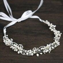 Leliin Freshwater Pearls Luxuries Wedding Hair Vine Bridal Headpiece Bride Crystal Hair Accessories With Ribbon