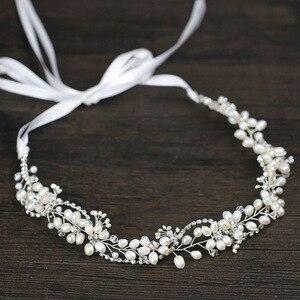Image 1 - Leliin 淡水真珠贅沢結婚式のヘアつるブライダルヘッドピース花嫁クリスタルヘアアクセサリーリボン