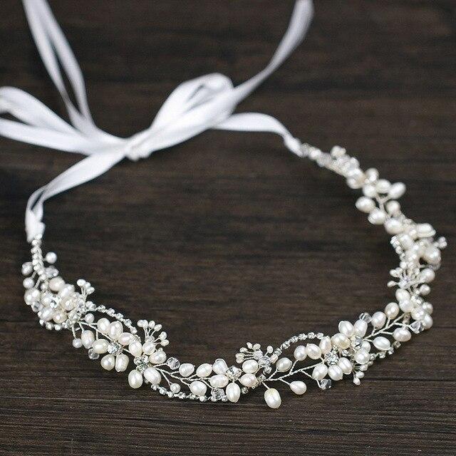 Leliin 淡水真珠贅沢結婚式のヘアつるブライダルヘッドピース花嫁クリスタルヘアアクセサリーリボン