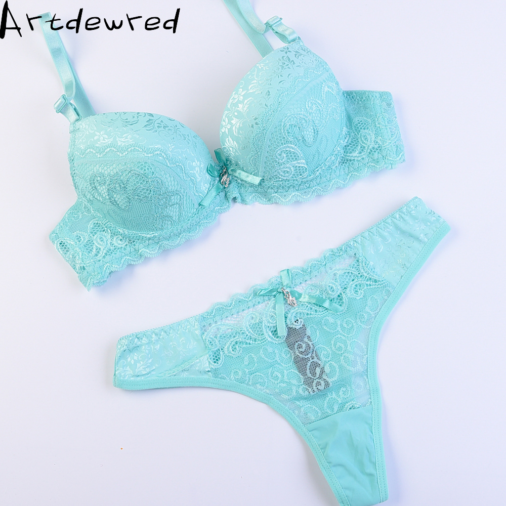 French brand ABC cup sexy push up plus size bra set women's fashion lace underwear set intimate noble young girl bra thong sets